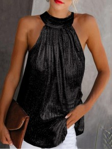 Black Sequin Draped Halter Neck Sparkly Elegant Party Vest