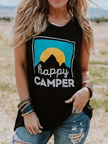 Black Patchwork Happy Camper Print Round Neck Sleeveless Fashion Vest