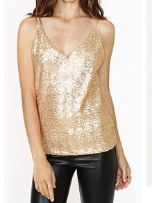 Golden Sequin Glitter Sparkly V-neck Sleeveless Fashion Vest