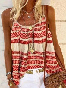 Red Floral Spaghetti Strap Round Neck Sleeveless Fashion Vest