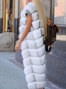 White Bubble Fox Faux Fur Sleeveless Fluffy Thick Waistcoat Vest
