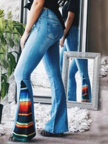 Blue Rainbow Striped Pockets High Waisted Bell Bottom Extreme Flare Vintage Long Jeans