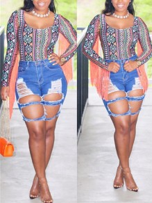 Blue Cut Out Distressed Ripped Buttons Pockets Denim High Waisted Party Short Jean