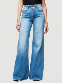 Blue Pockets Washed-out Style High Waisted Wide Leg Fashion Flare Jeans