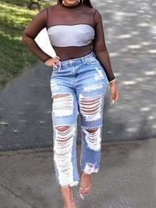 Light Blue Patchwork Cut Out Ripped Destroyed Distressed High Waisted Vintage Long Jeans