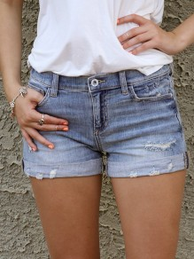 Light Blue Cut Out Pockets Buttons High Waisted Fashion Short Jeans