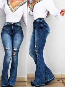 Dark Blue Pockets High Waisted Ripped Destroyed Cropped Flare Bell Bottom Vintage Long Jeans