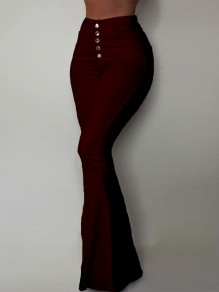 Burgundy Single Breasted Pockets High Waisted Bell Bottomed Flares Long Jean