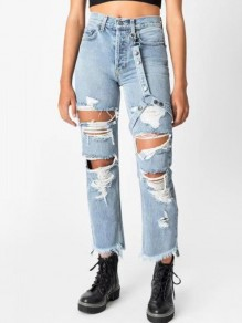 Blue Pockets Buttons High Waisted Knee Ripped Destroyed Mom Boyfriend Casual Long Jeans