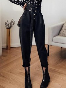 Black Single Breasted High Waisted Hippie Baggy Boyfriend Mom Vintage Long Jeans