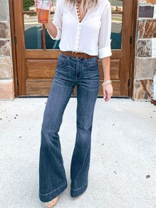 Dark Blue Pockets High Waisted Vintage Flare Bell Bottom Long Jeans