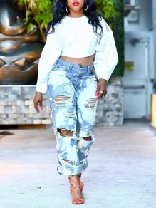 Light Blue Tie Dyeing Cut Out Distressed Ripped Pockets Denim High Waisted Party Long Jean