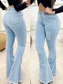 Light Blue Patchwork Buttons Pockets Flare Bell Bottom High Waisted Fashion Jeans Denim Pants