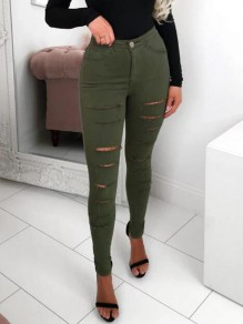 Army Green Cut Out High Waisted Ripped Destroyed Distressed Denim Long Pants