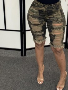 Army Green Camouflage Cut Out Distressed Ripped Pockets Denim High Waisted Short Jean