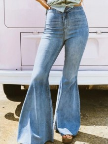 Light Blue Patchwork Zipper High Waist Long Push Up Flare Bell Bottom Jeans
