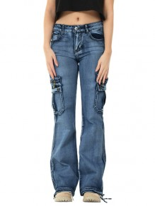 Dark Blue Patchwork Pockets Hippy Straight High Waisted Fashion Jeans Pants