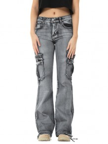 Grey Patchwork Pockets Hippy Straight High Waisted Fashion Jeans Pants
