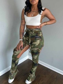 Camouflage Cut Out Distressed Ripped Pockets Denim Hohe Taille Lange Jean