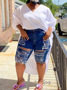 Navy Blue Cut Out Distressed Ripped Pockets Plus Size Denim Hohe Taille Short Jean
