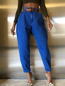 Blue Pockets High Waisted Boyfriend 90's jeans Mom Jeans