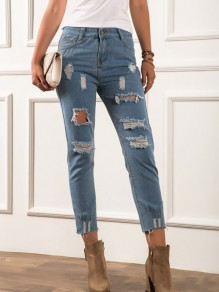 Light Blue Cut Out Pockets Buttons High Waisted Nine's Jeans