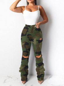 Camouflage Cut Out Distressed Ripped Pockets Pile Denim Long Jean