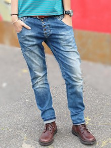 Blue Buttons Pockets Mid-rise Fashion Loose Long Jeans