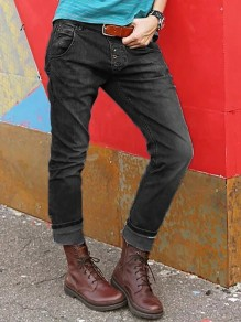 Jeans longs boutons poches taille normale mode ample noir