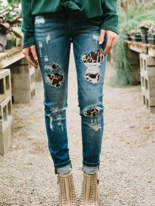 Blue Leopard Irregular Ripped Destroyed Zipper Fashion Long Jeans