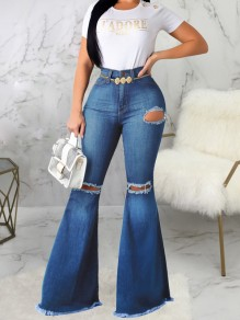 Blue Cut Out Pockets Buttons High Waisted Flare Long Bell Bottom Jeans