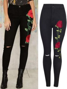 Black Floral Print Zipper Going out High Waist Long Jeans