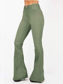 Army Green Pockets Buttons High Waisted Flare Bell Bottom Slim Big Booty Vintage Long Jeans Pants