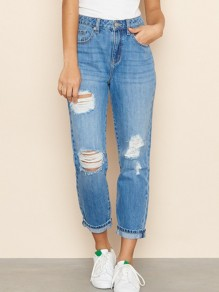 Blue Pockets Buttons High Waisted Ripped Distressed Boyfriend Denim Nine's Mom Jeans
