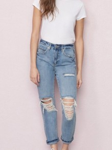 Light Blue Pockets Buttons High Waisted Ripped Distressed Boyfriend Denim Nine's Mom Jeans
