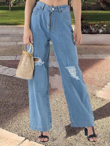 Hellblaue Taschen High Waisted Zerrissene Destroyed Lange Weites Bein Palazzo Jeans Damen Mode