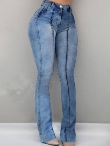 Light Blue Pockets Buttons High Waisted Washed-out Style Casual Long Flare Jeans