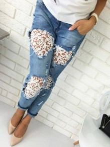 Blue Patchwork Lace Cut Out Pockets Buttons High Waiste Ripped Long Jeans
