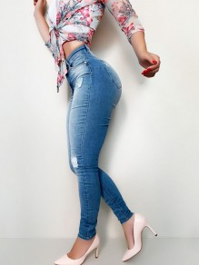 Blue Patchwork Pockets Buttons Ripped Destroyed High Waisted Long Jeans