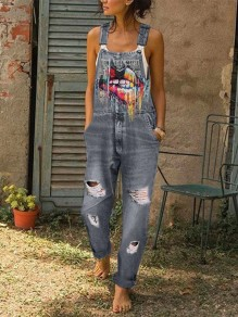 Grey Colorful Lips Print Pockets Sleeveless Ripped Destroyed Overall Jeans Long Dungarees Jumpsuit