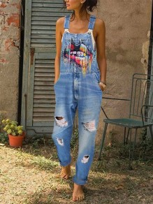 Light Blue Colorful Lips Print Pockets Sleeveless Ripped Destroyed Overall Jeans Long Dungarees Jumpsuit