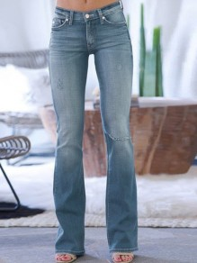 Light Blue Bootcut Pocket High Waisted Flare Bell Bottom Jean Long Pants