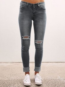 Grau Cut Out High Waisted Ripped Skinny Zerrissene Jeans Röhrenjeans Lange Hose Damen Mode