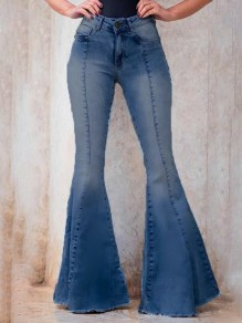 Light Blue Pockets Buttons High Waisted Big Flare Bell Bottom Long Jeans