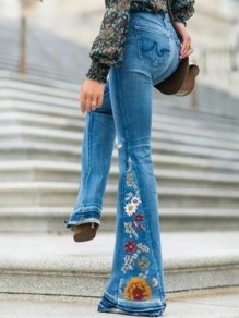 Light Blue Embroidery High Waisted Flare Bell Bottom Long Jean Pants