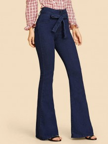 Dark Blue Belt High Waisted Flare Bell Bottom Long Jeans
