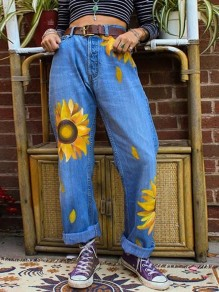 Blue Sunflower Print Pockets Buttons High Waisted Wide Leg Palazzo Roll Up Long Mom jeans
