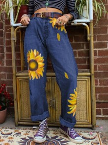 Navy Blue Sunflower Print Pockets Buttons High Waisted Wide Leg Palazzo Casual Long Jeans
