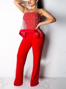 Red Patchwork Grenadine Pearl Off Shoulder Backless Party Wide Leg Palazzo Long Jumpsuit