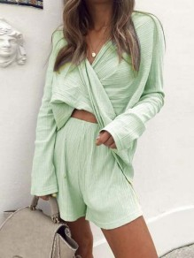 Green Double-deck Two Piece Halter V-neck Going out Short Jumpsuit